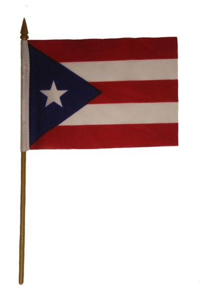 "PUERTO RICO 4"" X 6"" INCHES MINI COUNTRY STICK FLAG BANNER ON A 10 INCHES PLASTIC POLE .. NEW AND IN A PACKAGE."