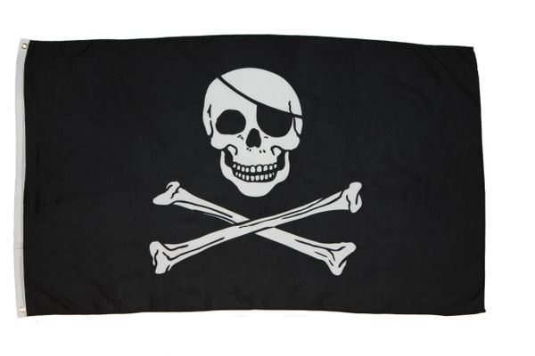 SKULL WITH EYE PATCH & CROSS BONES 3' X 5' FEET PICTURE PIRATE FLAG BANNER .. HIGH QUALITY .. NEW