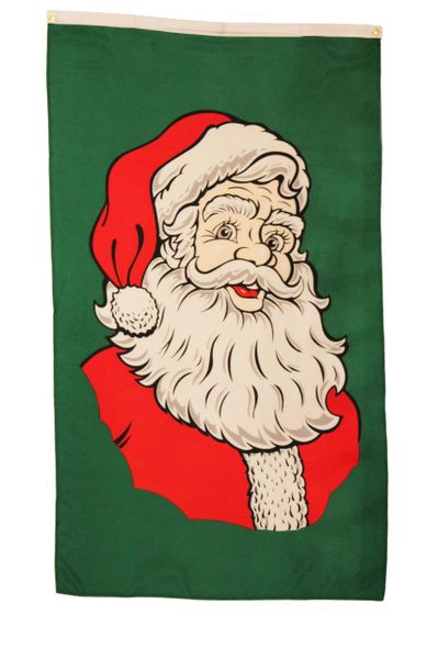 SANTA CLAUS OLD ST. NICK GREEN 5' X 3' FEET PICTURE BANNER FLAG