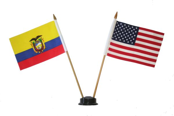 """COLOMBIA & USA SMALL 4"""" X 6"""" INCHES MINI DOUBLE COUNTRY STICK FLAG BANNER ON A 10 INCHES PLASTIC POLE .. NEW AND IN A PACKAGE"""