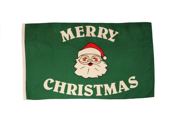 SANTA CLAUS MERRY CHRISTMAS GREEN 3' X 5' FEET PICTURE FLAG BANNER