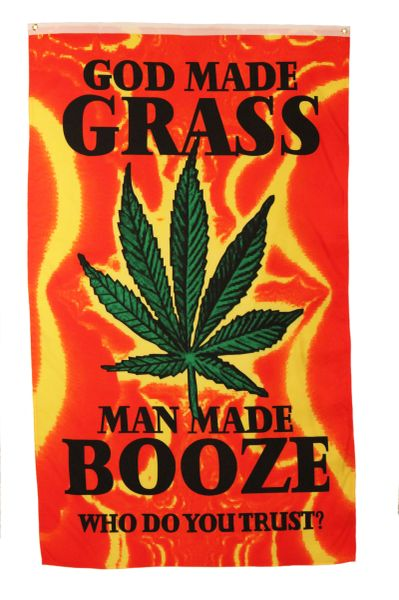 GOD MADE GRASS MAN MADE BOOZE YELLOW RED 5' X 3' FEET PICTURE BANNER FLAG
