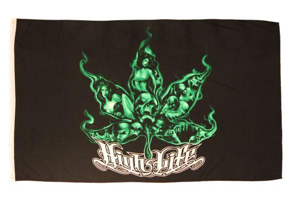 HIGH LIFE GREEN BLACK MARIJUANA LEAF 3' X 5' FEET PICTURE FLAG BANNER