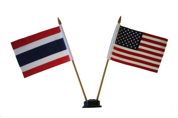 """COSTA RICA & USA SMALL 4"""" X 6"""" INCHES MINI DOUBLE COUNTRY STICK FLAG BANNER ON A 10 INCHES PLASTIC POLE .. NEW AND IN A PACKAGE"""
