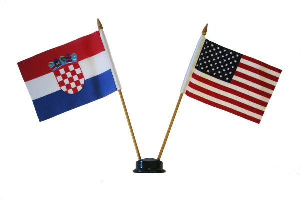 "CROATIA & USA SMALL 4"" X 6"" INCHES MINI DOUBLE COUNTRY STICK FLAG BANNER ON A 10 INCHES PLASTIC POLE .. NEW AND IN A PACKAGE"