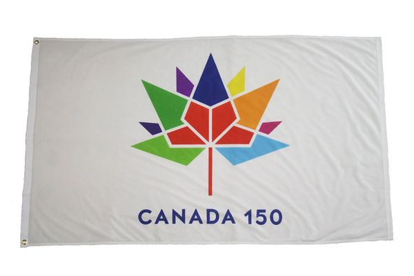 CANADA 150 YEAR ANNIVERSARY 1867 - 2017 WHITE 3' X 5' FEET FLAG BANNER .. NEW