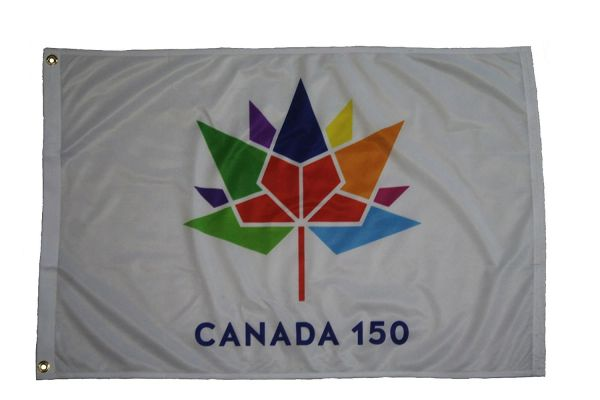 CANADA 150 YEAR ANNIVERSARY 1867 - 2017 WHITE 2' X 3' FEET FLAG BANNER .. NEW