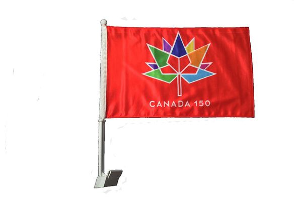 "CANADA 150 YEAR ANNIVERSARY 1867 - 2017 RED 12"" X 18"" INCH CAR HEAVY DUTY STICK FLAG .. NEW"
