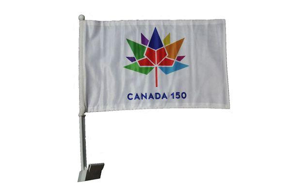 "CANADA 150 YEAR ANNIVERSARY 1867 - 2017 WHITE 12"" X 18"" INCH CAR HEAVY DUTY STICK FLAG .. NEW"