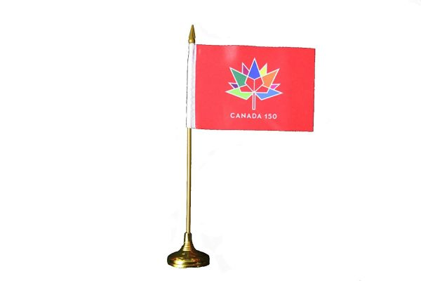 "CANADA 150 YEAR ANNIVERSARY 1867 - 2017 RED 4"" X 6"" INCH STICK FLAG WITH GOLD STAND"