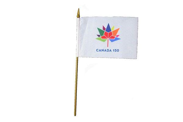"CANADA 150 YEAR ANNIVERSARY 1867 - 2017 WHITE 4"" X 6"" INCH STICK FLAG"