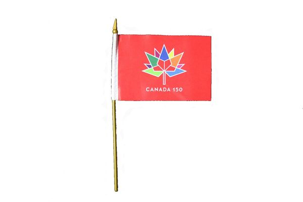 "CANADA 150 YEAR ANNIVERSARY 1867 - 2017 RED 4"" X 6"" INCH STICK FLAG .. NEW"