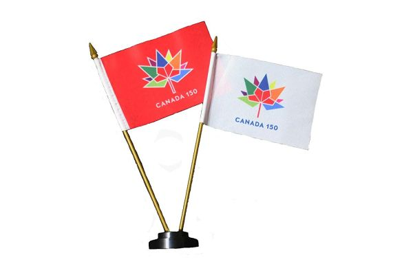 """CANADA 150 YEAR ANNIVERSARY 1867 - 2017 WHITE & RED 4"""" X 6"""" INCH STICK FLAGS ON BLACK 2 HOLES PLASTIC STAND .. NEW"""
