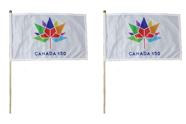 """2 CANADA 150 YEAR ANNIVERSARY 1867 - 2017 WHITE & WHITE 12"""" X 18"""" INCH FLAG WITH 2 FEET WOODEN STICK"""