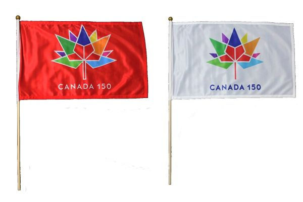 """2 CANADA 150 YEAR ANNIVERSARY 1867 - 2017 RED & WHITE 12"""" X 18"""" INCH FLAG WITH 2 FEET WOODEN STICK .. NEW"""