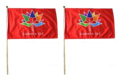 "2 CANADA 150 YEAR ANNIVERSARY 1867 - 2017 RED & RED 12"" X 18"" INCH FLAG WITH 2 FEET WOODEN STICK .. NEW"