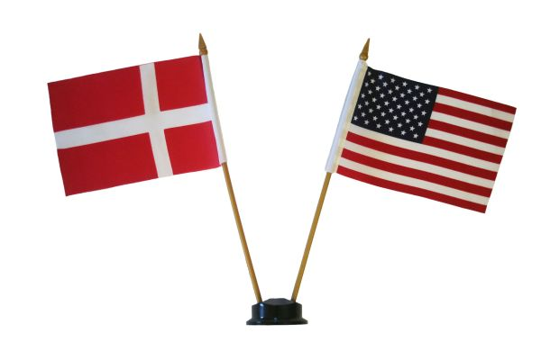 "DENMARK & USA SMALL 4"" X 6"" INCHES MINI DOUBLE COUNTRY STICK FLAG BANNER ON A 10 INCHES PLASTIC POLE .. NEW AND IN A PACKAGE"