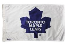 "TORONTO MAPLE LEAFS 12"" X 18"" INCHES NHL HOCKEY LOGO WHITE HEAVY DUTY WITH SLEEVE WITHOUT STICK CAR FLAG"