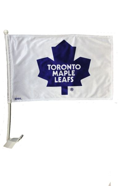 "TORONTO MAPLE LEAFS 12"" X 18"" INCH NHL HOCKEY LOGO WHITE HEAVY DUTY WITH STICK CAR FLAG"