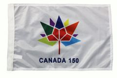 "CANADA 150 Year Anniversary 1867-2017 Logo WHITE 12"" X 18"" Inch HEAVY DUTY WITH SLEEVE WITHOUT STICK CAR FLAG"