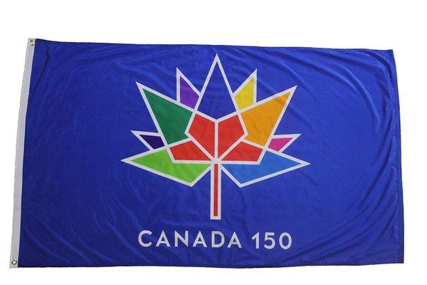 CANADA 150 YEAR ANNIVERSARY 1867 - 2017 BLUE 2' X 3' FEET FLAG BANNER