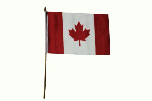 "CANADA Country 6"" X 9"" Inch STICK FLAG BANNER With 13.5"" INCH PLASTIC POLE"