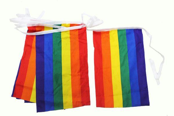 """20 GAY & LESBIAN PRIDE RAINBOW 12"""" X 18"""" Inch FLAG BANNER BUNTING ..Length : 42 Feet."""