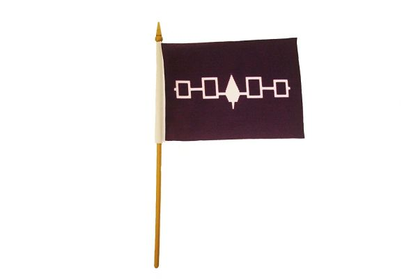 "IROQUOIS First Nations 4"" X 6"" Inch STICK FLAG BANNER ON A 10 INCHES PLASTIC POLE"