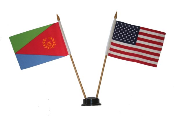 "ERITREA & USA SMALL 4"" X 6"" INCHES MINI DOUBLE COUNTRY STICK FLAG BANNER ON A 10 INCHES PLASTIC POLE .. NEW AND IN A PACKAGE"