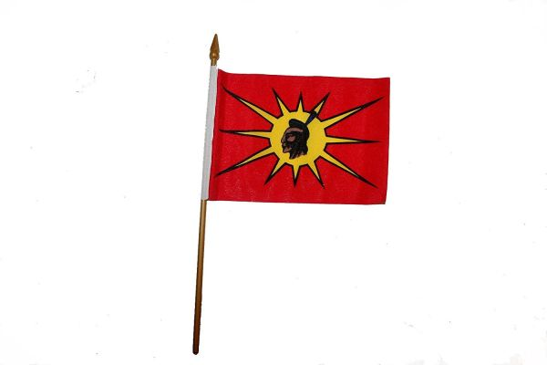 "MOHAWK OKA Native 4"" X 6"" Inch STICK FLAG BANNER ON A 10 INCHES PLASTIC POLE"