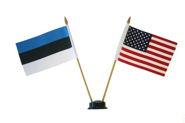 """ESTONIA & USA SMALL 4"""" X 6"""" INCHES MINI DOUBLE COUNTRY STICK FLAG BANNER ON A 10 INCHES PLASTIC POLE .. NEW AND IN A PACKAGE"""