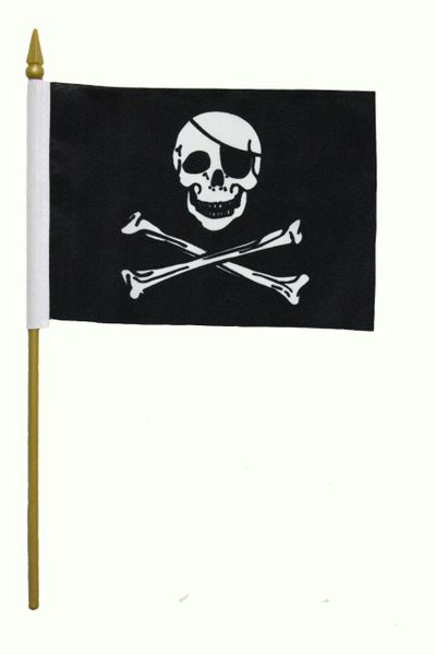 """JOLLY ROGERS PIRATE 4"""" X 6"""" Inch Mini Stick Flag ON A 10 Inch Plastic Pole"""