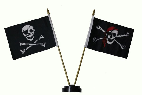 """JOLLY ROGERS & SKULL BANDANA PIRATE 4"""" X 6"""" Inch Mini Stick Flags ON A 10 Inch Plastic Pole & Stand"""