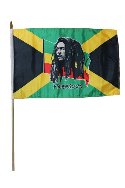 """BOB MARLEY FREEDOM 12"""" X 18"""" INCH COUNTRY STICK FLAG ON 2 FOOT WOODEN STICK"""