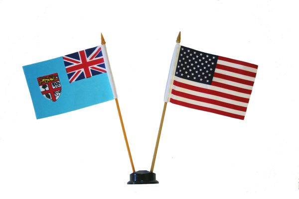 "FIJI & USA SMALL 4"" X 6"" INCHES MINI DOUBLE COUNTRY STICK FLAG BANNER ON A 10 INCHES PLASTIC POLE .. NEW AND IN A PACKAGE"