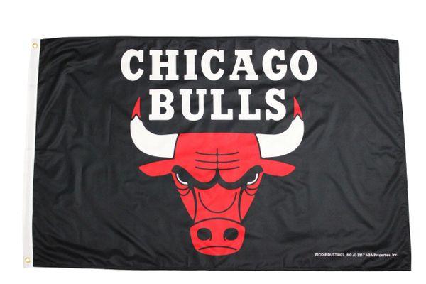 CHICAGO BULLS NBA Logo Black 3' X 5' Feet FLAG BANNER