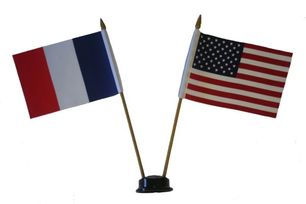 "FRANCE & USA SMALL 4"" X 6"" INCHES MINI DOUBLE COUNTRY STICK FLAG BANNER ON A 10 INCHES PLASTIC POLE .. NEW AND IN A PACKAGE"