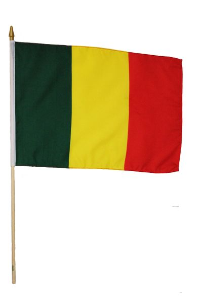 "MALI Large 12"" X 18"" INCH Country STICK FLAG On 2 Foot WOODEN STICK"