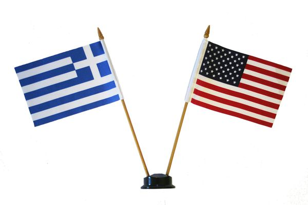 "GREECE & USA SMALL 4"" X 6"" INCHES MINI DOUBLE COUNTRY STICK FLAG BANNER ON A 10 INCHES PLASTIC POLE .. NEW AND IN A PACKAGE"