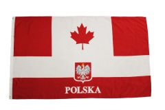 CANADA - POLAND With EAGLE LARGE 3' X 5' Feet Country FLAG BANNER