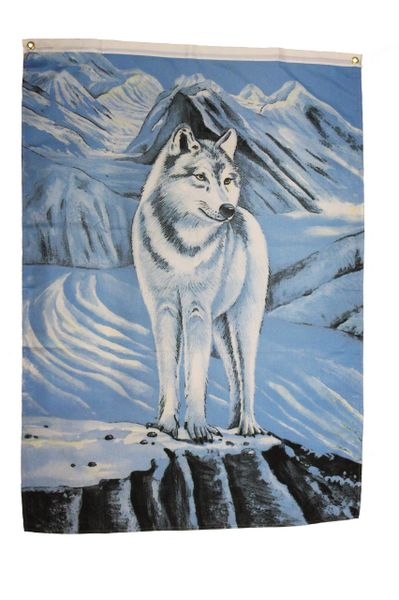 WOLF With Blue MOUNTAINS 4' X 3' Feet (approx.) Picture BANNER FLAG