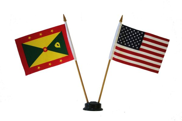 "GRENADA & USA SMALL 4"" X 6"" INCHES MINI DOUBLE COUNTRY STICK FLAG BANNER ON A 10 INCHES PLASTIC POLE .. NEW AND IN A PACKAGE"