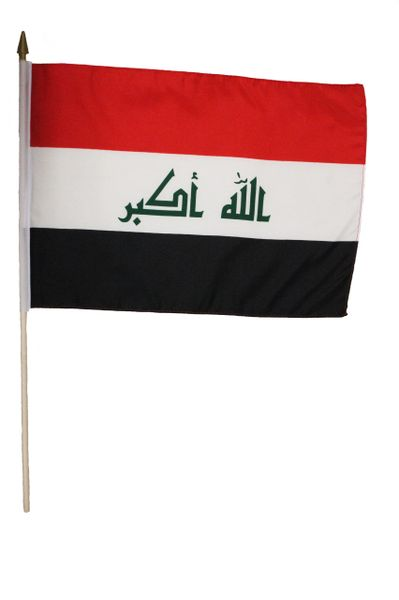 """IRAQ LARGE 12"""" X 18"""" INCHES COUNTRY STICK FLAG ON 2 FOOT WOODEN STICK .. NEW AND IN A PACKAGE."""