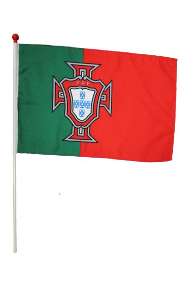 "PORTUGAL F.P.F LARGE 12"" X 18"" INCHES COUNTRY STICK FLAG ON 2 FOOT WOODEN STICK .. NEW AND IN A PACKAGE"
