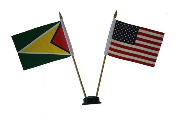 "GUYANA & USA SMALL 4"" X 6"" INCHES MINI DOUBLE COUNTRY STICK FLAG BANNER ON A 10 INCHES PLASTIC POLE .. NEW AND IN A PACKAGE"