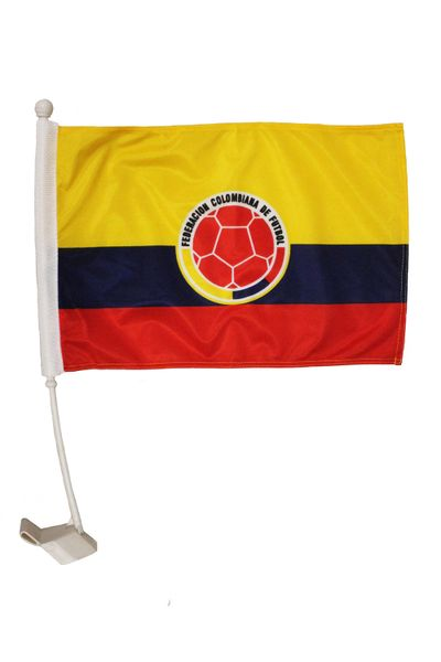 "COLOMBIA Country & Federacion Colombiana De Futbol Logo Heavy Duty Car Stick Flag 12""X 18"" Inch New"