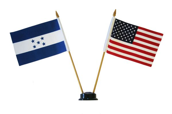"HONDURAS & USA SMALL 4"" X 6"" INCHES MINI DOUBLE COUNTRY STICK FLAG BANNER ON A 10 INCHES PLASTIC POLE .. NEW AND IN A PACKAGE"