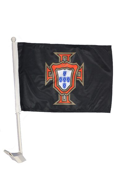 "PORTUGAL BLACK 12"" X 18"" INCHES FPF LOGO FIFA SOCCER WORLD CUP HEAVY DUTY WITH STICK CAR FLAG .. NEW AND IN A PACKAGE"