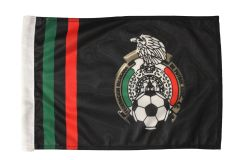 "MEXICO BLACK 12"" X 18"" INCHES LOGO FIFA SOCCER WORLD CUP HEAVY DUTY WITH SLEEVE WITHOUT STICK CAR FLAG .. NEW AND IN A PACKAGE"