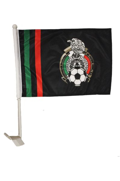 """MEXICO BLACK 12"""" X 18"""" INCHES - FLAG HEAVY DUTY WITH STICK CAR FLAG .. NEW AND IN A PACKAGE"""